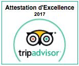 Attestation d'Excellence Tripadvisor Lesgeckos 2017